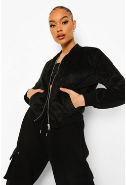 Black Suedette Quilted Bomber Jacket