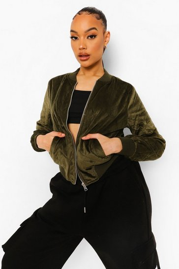 Khaki Suedette Quilted Bomber Jacket