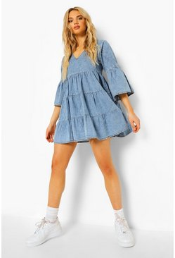 Mid blue blue V Front Flared Sleeve Chambray Smock Dress