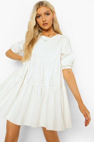 Ecru white Denim Puff Sleeve Smock Dress