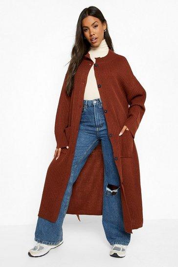 Mahogany brown Rib Knit Coatigan
