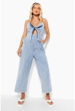 Light blue blue Tie Front Chambray Culotte Jumpsuit
