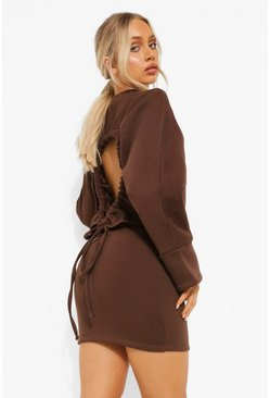 Chocolate brown Open Back Tie Up Sweat Dress