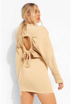 Open Back Tie Up Sweat Dress, Stone beige