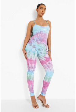Blue Tie Dye Strappy Unitard