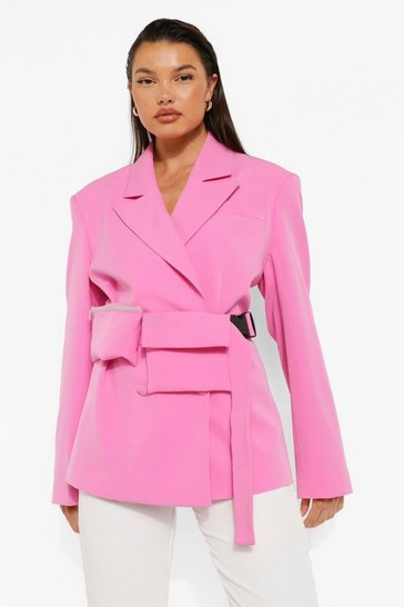 Pink Woven Branded Blazer With Beltbag