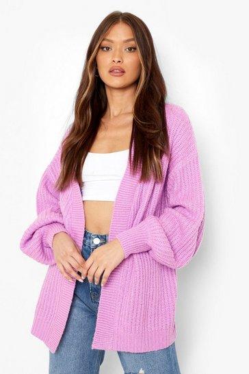 Violet purple Chunky Soft Knit Edge To Edge Cardigan