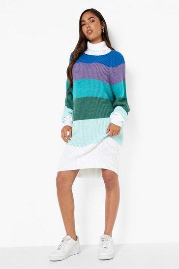 Blue Rainbow Stripe Jumper Dress