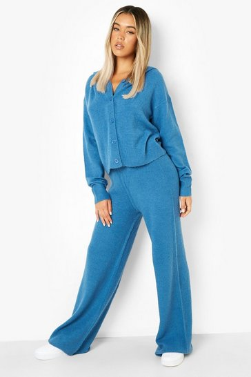 Teal green Soft Knit Hooded Co-ord