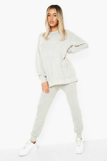 Grey Soft Knit Tracksuit