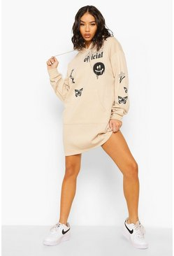 Sand beige Multi Graffiti Print Hoodie Dress