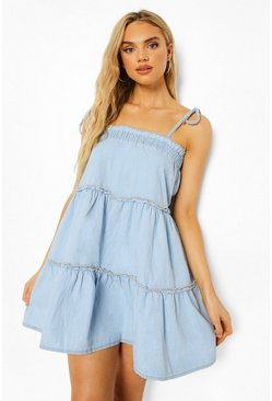 Tiered Chambray Swing Dress, Mid blue azzurro