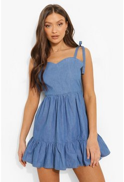 Backless Tie Shoulder Chambray Mini Dress, Mid blue azzurro