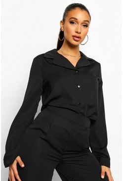 Black Relaxed Fit Matte Satin Shirt