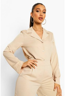 Sand beige Relaxed Fit Matte Satin Shirt