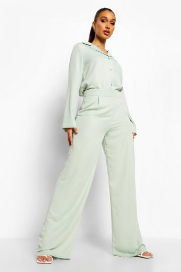 Light khaki khaki Relaxed Fit Matte Satin Wide Leg Trousers