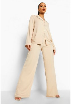 Sand beige Relaxed Fit Matte Satin Wide Leg Trousers