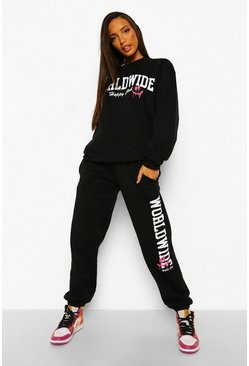"Tall Sweatshirt-Trainingsanzug mit ""Happy Club""-Print, Schwarz"