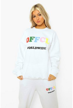 Tall Sweatshirt-Trainingsanzug mit Offcl Worldwide-Print, Weiß
