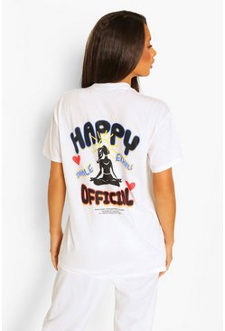 "Tall T-Shirt-Trainingsanzug mit ""Happy Official""-Print, Weiß"