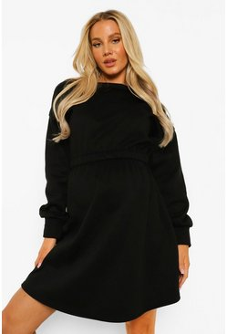 Black Maternity Elasticated Waist Sweat Dress