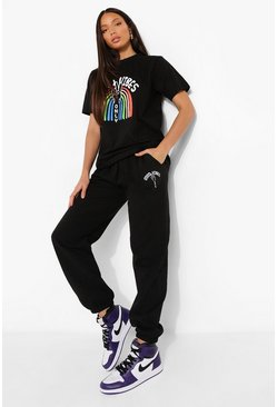 Black Tall Good Vibes Rainbow T-shirt Tracksuit