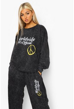 Charcoal grey Tall Acid Peace Worldwide Sweat Tracksuit