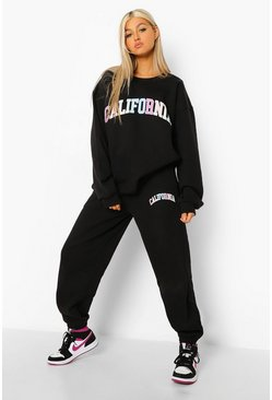 Black Tall California Rainbow Sweatshirt Tracksuit