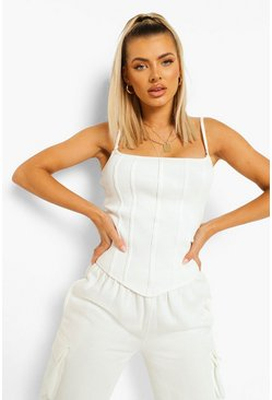 Cream white Ribbed Strappy Corset Top