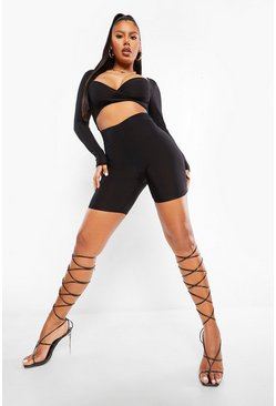 Black Rib Cutout Unitard
