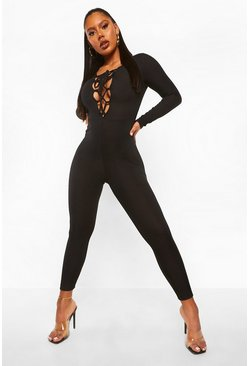 Black Rib Lace Up Plunge Jumpsuit