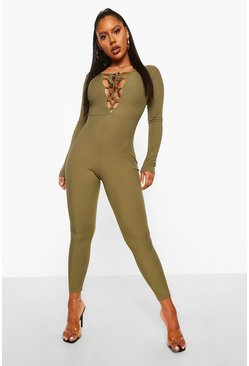 Khaki Rib Lace Up Plunge Jumpsuit