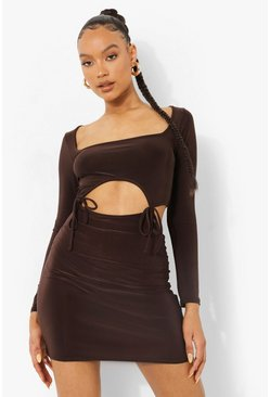 Chocolate brown Slinky Square Neck Cutout Bodycon