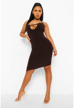 Chocolate brown Slinky Plunge Mini Dress