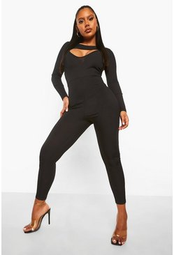 Black Rib Cutout Jumpsuit