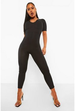 Black Rib Plunge Jumpsuit