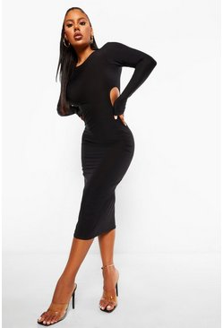 Slinky Cutout Midaxi Dress, Black nero