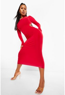 Red Slinky Cutout Midaxi Dress