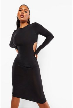 Slinky Cutout Midi Dress, Black nero