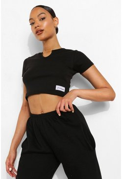Black Woman Thick Rib Notch Neck Crop Top