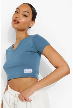 Blue Woman Thick Rib Notch Neck Crop Top