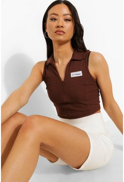 Woman Thick Rib Zip Up Crop Top, Chocolate braun