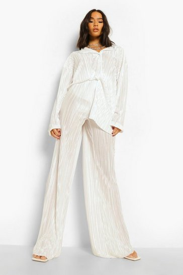 Ivory white Plisse Floor Sweeping Wide Leg Trousers