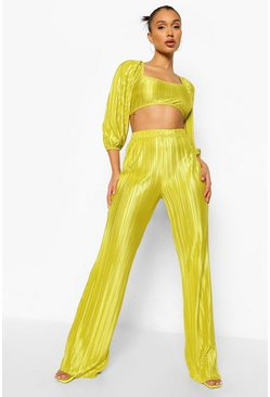 Chartreuse gul Plisse Volume Sleeve Crop & Wide Leg Trouser