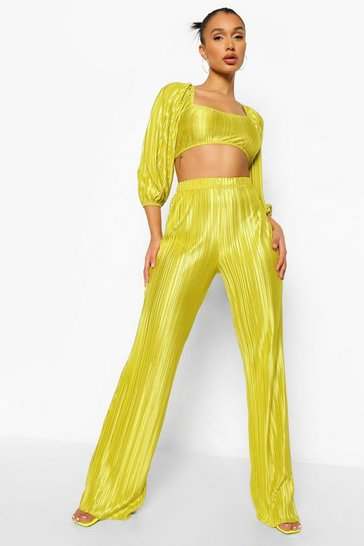 Chartreuse yellow Plisse Volume Sleeve Crop & Wide Leg Trouser