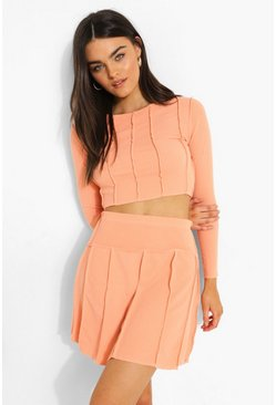 Exposed Seam Crinkle Rib Crop And Skater Skirt, Coral rosa