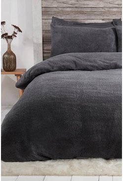 Charcoal Teddy Fleece King Duvet Set