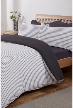 Grey Jersey Melange Stripe Single Duvet Set
