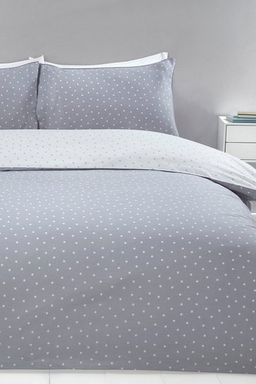 Grey Mini Dots Super King Duvet Set