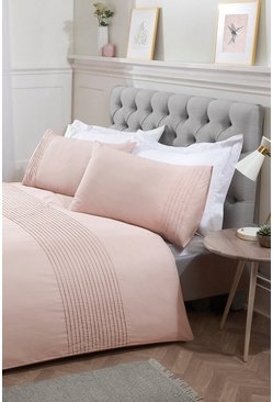 Blush pink Pintuck Double Duvet Set